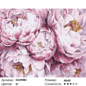 Количество цветов и сложность В облаках пионов Раскраска картина по номерам на холсте GX29483