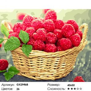 Количество цветов и сложность Лукошко спелой малины Раскраска картина по номерам на холсте GX29468