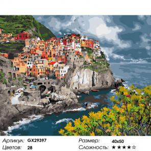 Количество цветов и сложность Хмурое небо над прибрежным городом Раскраска картина по номерам на холсте GX29397
