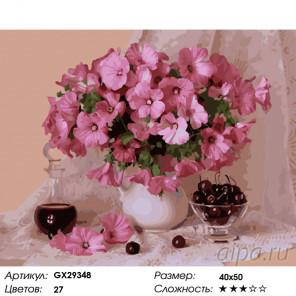 Количество цветов и сложность Натюрморт с розовыми цветами Раскраска картина по номерам на холсте GX29348
