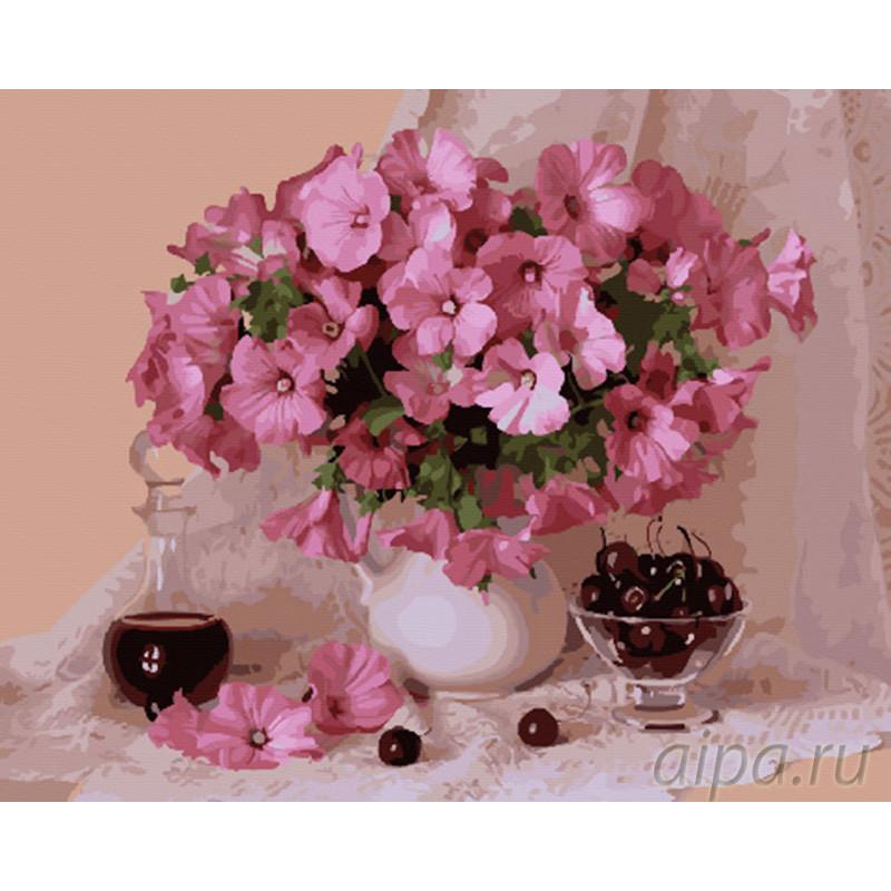 GX29348 Натюрморт с розовыми цветами Раскраска картина по ...