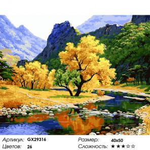 Горный пейзаж осенью Раскраска картина по номерам на холсте GX29316