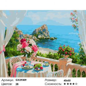 Количество цветов и сложность Завтрак у моря Раскраска картина по номерам на холсте GX29309