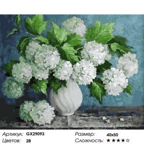 Количество цветов и сложность Белые гортензии Раскраска картина по номерам на холсте GX29093