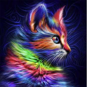 Разноцветный котенок Алмазная вышивка мозаика АЖ-1777