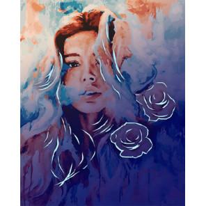 Девушка и розы Картина по номерам люминесцентная LPK6027