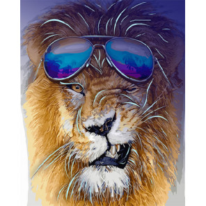 Модный лев Картина по номерам люминесцентная LPK24050