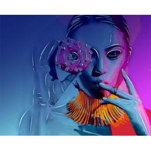 Дама и пончик Картина по номерам люминесцентная LPK22045