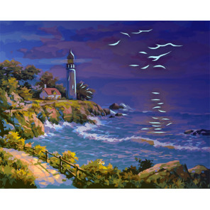 Маяк на закате Картина по номерам люминесцентная LPK11019