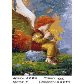 Сложность и количество цветов Ангелочек со свирелью Раскраска картина по номерам на холсте GX25151