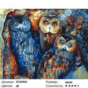 Сложность и количество цветов Филин и совушки Раскраска картина по номерам на холсте GX25526