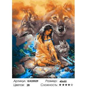 Сложность и количество цветов Индианка и волки Раскраска картина по номерам на холсте GX25529