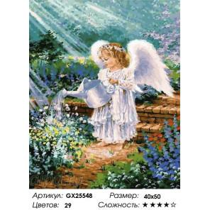 Сложность и количество цветов Ангелочек в саду Раскраска картина по номерам на холсте GX25548