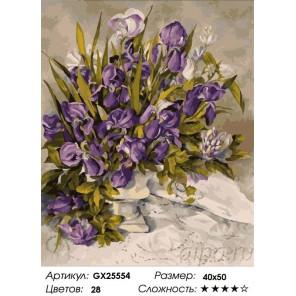 Сложность и количество цветов Нежные ирисы Раскраска картина по номерам на холсте GX25554