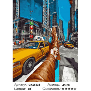 Сложность и количество цветов Следуй за мной Нью-Йорк сити Раскраска картина по номерам на холсте GX25334