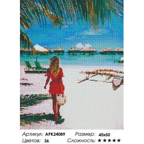 Сложность и количество цветов На тропическом пляже Алмазная вышивка мозаика на подрамнике APK24089