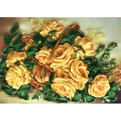 Желтые розы Набор для вышивки лентами Каролинка КЛ(Н)-3030