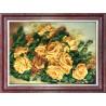 Пример оформления в рамку Желтые розы Набор для вышивки лентами Каролинка КЛ(Н)-3030