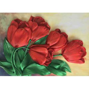 Тюльпаны Набор для вышивки лентами Каролинка КЛ(Н)-3031