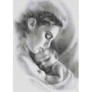 Мать и ребенок Габардин с рисунком для вышивки бисером или крестом Каролинка ТКБЛ(Э) 3047