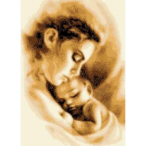 Мать и ребенок Канва с рисунком для вышивки крестом Каролинка КК 052
