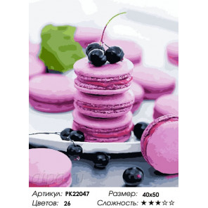 Сложность и количество цветов Розовые макаруны Раскраска картина по номерам на холсте PK22047