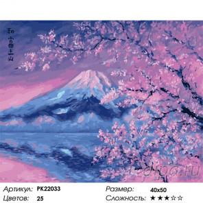 Сложность и количество цветов Фудзияма и розовая сакура Раскраска картина по номерам на холсте PK22033