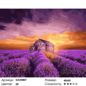 Сложность и количество цветов В лавандовой дымке Раскраска картина по номерам на холсте GX29807