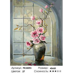 Сложность и количество цветов Цветы на окне Раскраска картина по номерам на холсте PK33093