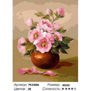 Сложность и количество цветов Розовые цветы Раскраска картина по номерам на холсте PK33086