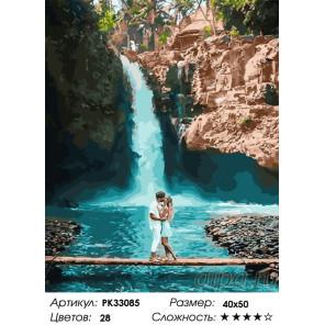 Сложность и количество цветов У водопада Раскраска картина по номерам на холсте PK33085