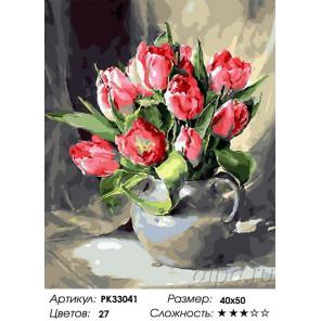 Сложность и количество цветов Тюльпаны Раскраска картина по номерам на холсте PK33041