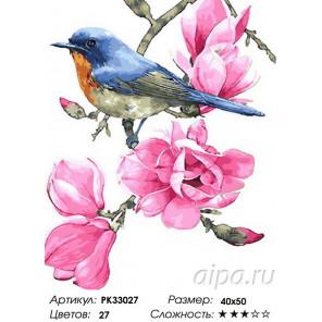 Сложность и количество цветов Птичка на ветке Раскраска картина по номерам на холсте PK33027