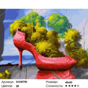 Сложность и количество цветов Клумба в туфле Раскраска картина по номерам на холсте GX30742