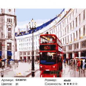 Сложность и количество цветов Будни Лондона Раскраска картина по номерам на холсте GX30731
