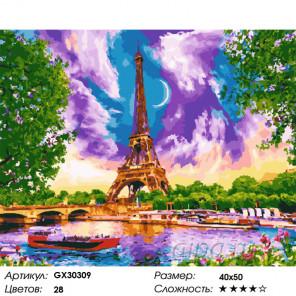 Сложность и количество цветов Виды Парижа Раскраска картина по номерам на холсте GX30309