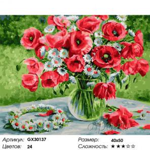 Сложность и количество цветов Маковое великолепие Раскраска картина по номерам на холсте GX30137