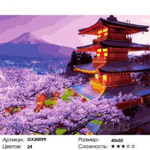 Сложность и количество цветов Пагоды над сакурой Раскраска картина по номерам на холсте GX30099