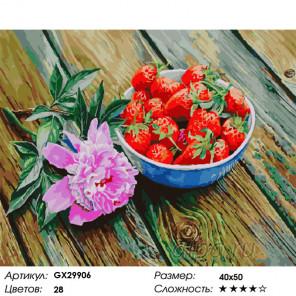 Сложность и количество цветов Пион и клубника Раскраска картина по номерам на холсте GX29906