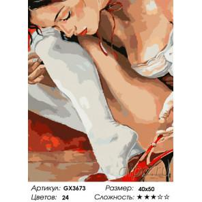 Сложность и количество цветов Девушка с туфлей Раскраска картина по номерам на холсте GX3673