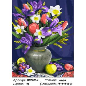 Сложность и количество цветов Весенний натюрморт Раскраска картина по номерам на холсте GX30556
