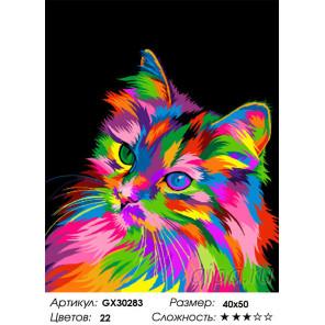 Сложность и количество цветов Радужный котёнок Раскраска картина по номерам на холсте GX30283