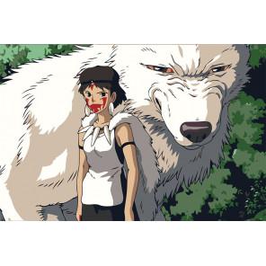 Девочка и белый волк Раскраска картина по номерам на холсте Z-AB131-80x120