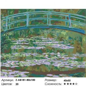 Сложность и количество цветов Мост и кувшинки Раскраска картина по номерам на холсте Z-AB181-80x100