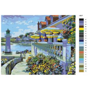 Контрольный лист Кафе у маяка (художник Говард Беренс) Раскраска по номерам акриловыми красками на холсте Живопись по номерам