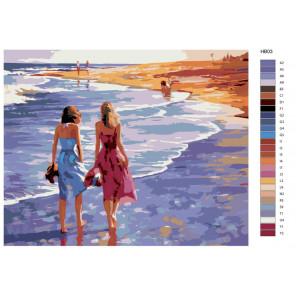 Раскладка Прогулка по пляжу Живопись по номерам