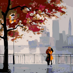Раскладка Осень в городе Раскраска картина по номерам на холсте AB05