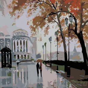 Раскладка Дождливый город Раскраска картина по номерам на холсте AB07