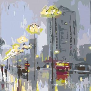 Раскладка Городской вечер Раскраска картина по номерам на холсте AB09