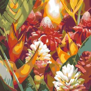 Раскладка Огненные цветы Раскраска картина по номерам на холсте F18